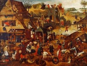 Pieter the Elder Bruegel - Flemish Proverbs