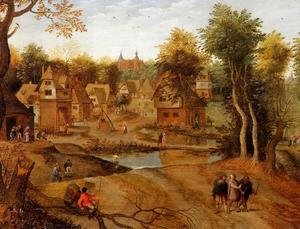 Pieter the Elder Bruegel - Village Landscape with Ammaus Pilgrims