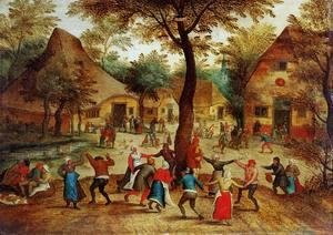 Village Scene with Dance around the May Pole