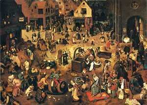 Pieter the Elder Bruegel - The Battle between Lent and Carnival