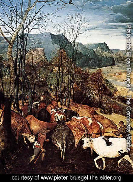 Pieter the Elder Bruegel - The Return of the Herd [detail] (or November) I
