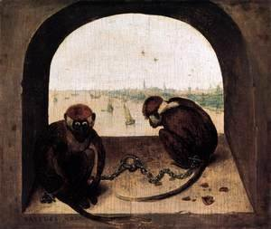 Pieter the Elder Bruegel - Two Chained Monkeys