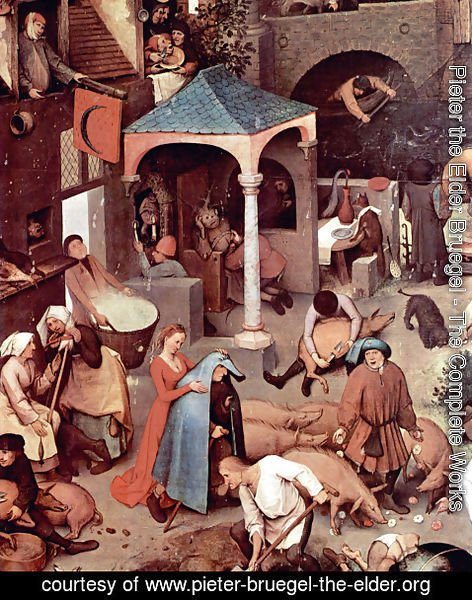 Pieter the Elder Bruegel - Netherlandish Proverbs (detail 1)