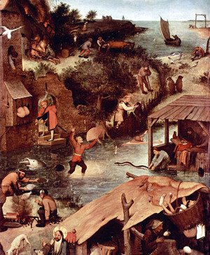 Pieter the Elder Bruegel - Netherlandish Proverbs (detail 2)