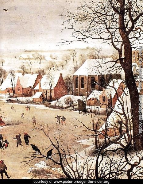 Winter Landscape with Skaters and a Bird Trap (detail)