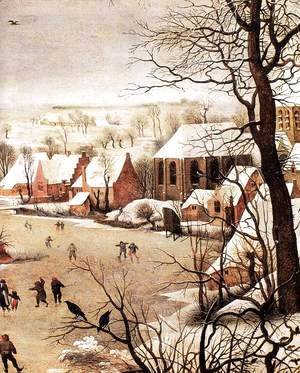 Pieter the Elder Bruegel - Winter Landscape with Skaters and a Bird Trap (detail)