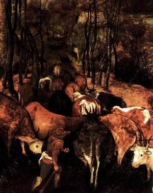 Pieter the Elder Bruegel - The Return of the Herd (detail)