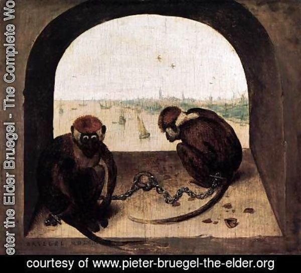 Pieter the Elder Bruegel - Two Chained Monkeys 2