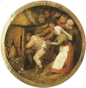 Pieter the Elder Bruegel - The Drunkard pushed into the Pigsty