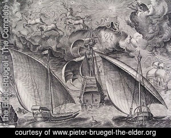 Pieter the Elder Bruegel - Man of War between two Galleys