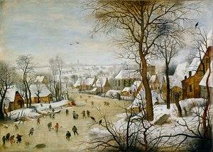 Winter Landscape with Skaters and Bird Trap 1565