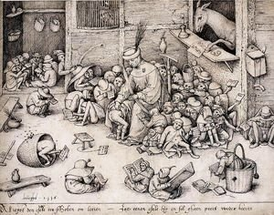 Pieter the Elder Bruegel - The Ass in the School 1556